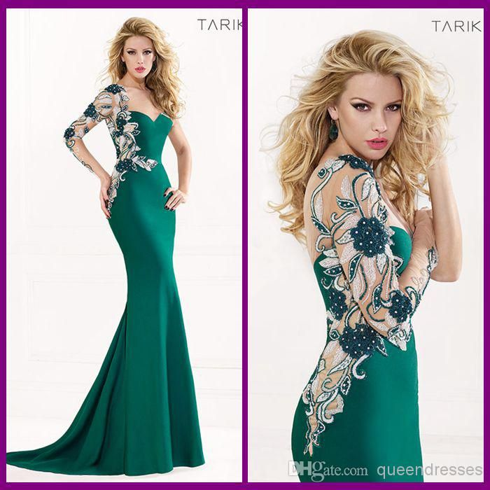 Wholesale Prom Dresses - Buy Top Sale Tarik Ediz Mermaid Prom Dresses Long Lace 2014 Sweetheart Long Sleeveless Chiffon Beads Backless Sweep Train Green Evening Gowns, $159.99 | DHgate
