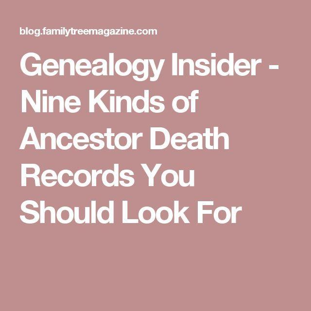 Genealogy Insider - Nine Kinds of Ancestor Death Records You Should Look For