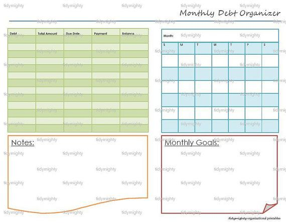 Monthly Debt Organizer / Tracker - Printable PDF (INSTANT DOWNLOAD)