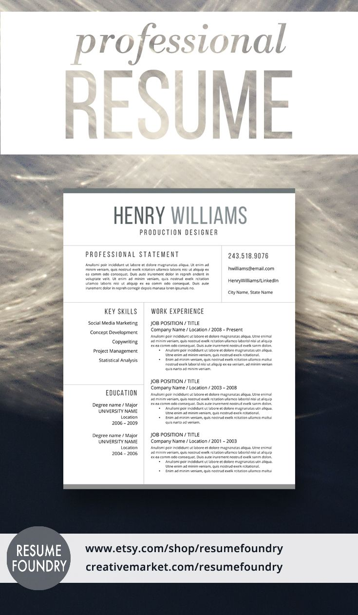 Cv Templates Design%0A Modern Resume Template for Word  Page Resume   Cover Letter   Reference Page