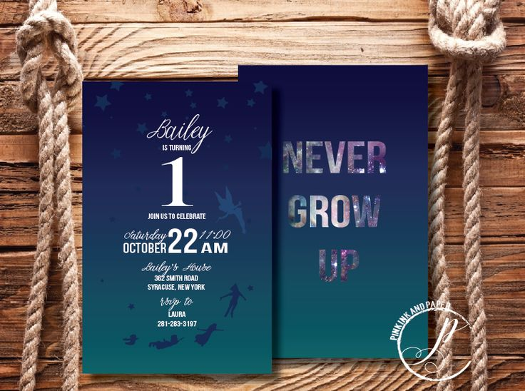 https://www.etsy.com/shop/PinkInkandPaper   Custom Birthday Invitations - Kids Birthday Party Invites - Neverland Peterpan Themed Party Invitations - Tinkerbell - Never Grow Up - Design by Pink Ink and Paper $1.50 each professionally printed or digital file.