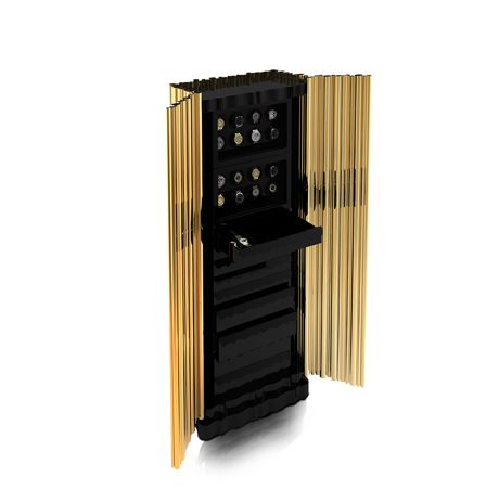 Boca do Lobo | The Symphony Safe draws inspirations from the world of jazz and some of its great musicians, ensuring a unique presence in a luxury room. #luxuryfurniture #goldbox #safebox #luxurysafebox Find more here: http://www.bocadolobo.com/en/private-collection/luxury-safes/symphony/
