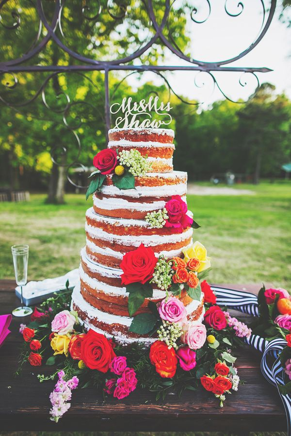naked wedding cake - photo by Teale Photography http://ruffledblog.com/colorful-southern-wedding-with-whimsy