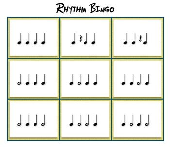 Use this four note Bingo game to reinforce quarter note, quarter rest, and half note values. This game is great for the classroom and studio.
