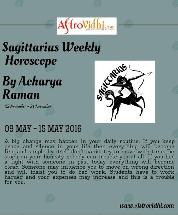 Check your Sagittarius Weekly Horoscope (09/05/2016-15/05/2016).Read your weekly horoscope online Hindi/English at AstroVidhi.com.  #sagittarius #weekly_horoscope