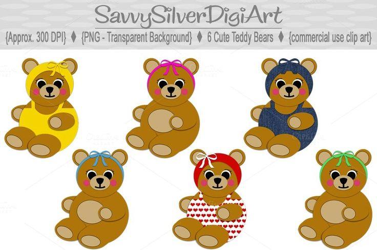 Cute Teddy Bear Digital Clipart by SavvySilverDigiArt on Creative Market