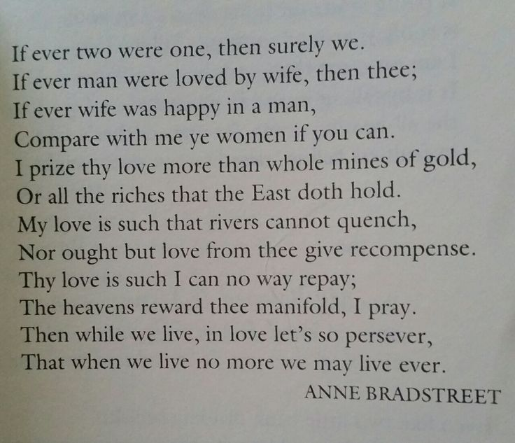 A reaction to the poems of anne bradstreet