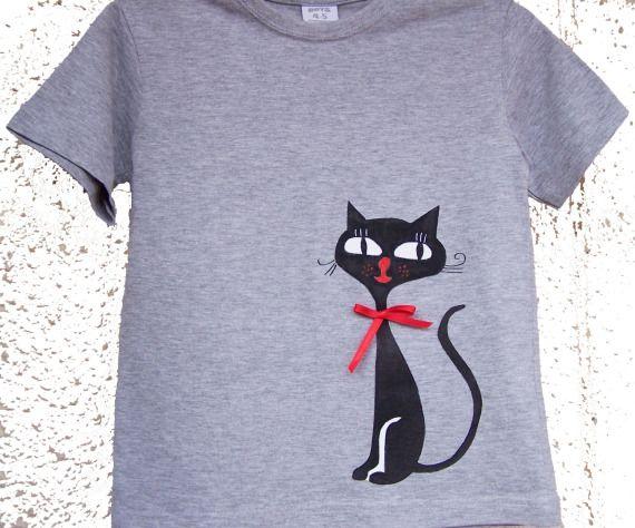 Camiseta con gato delantero y trasero / Sarasvati - Artesanio