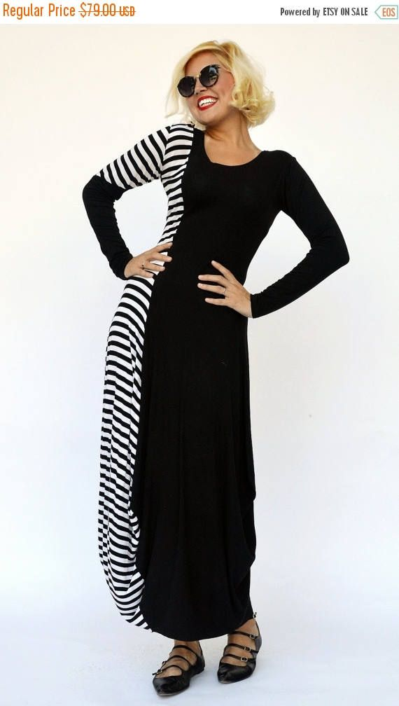 SUN SALE 25% OFF Striped Maxi Dress Tdk141, Viscose Maxi Dress, Black and White Dress with Stripes