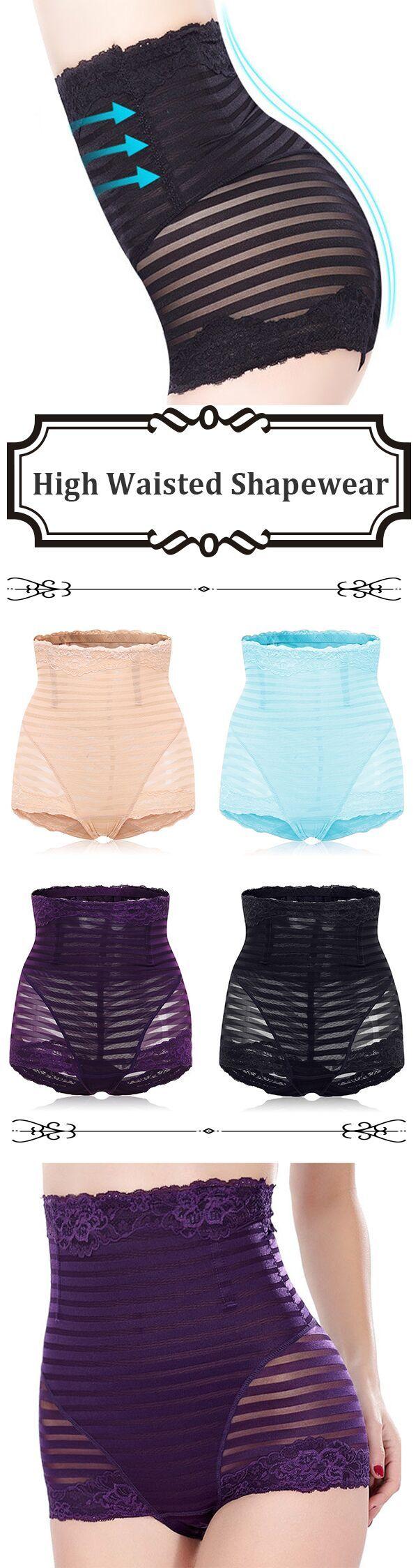 US$ 6.88 High Waisted Tummy Tuck Solid Color Shapewear Briefs Underwear