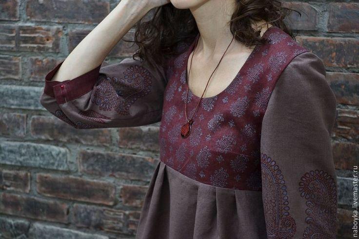 Купить Платье ручная набойка - бордовый, орнамент, лён, лён натуральный, отнография, набойка