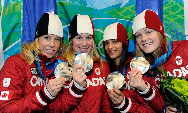 Canada Team during the Short Track Speed Skating Relays 3000m Women medal ceremony at the 2010 Vancouver Olympic Winter Games. Silver Medalists! Jessica Gregg, Valérie Maltais, Kalyna Roberge, Marianne St-Gelais, Tania Vicent