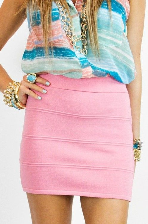 adorable.: Candy Color, Cotton Candy, Color Combos, Pink Skirts, Pastel Pink, Summer Color, Color Combinations, Pencil Skirts, Cute Outfit