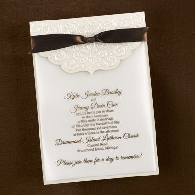 Ecru Whisper Invitation From The Candlelight Beginnings Collection By Carlson Craft Shown With Mocha Brown