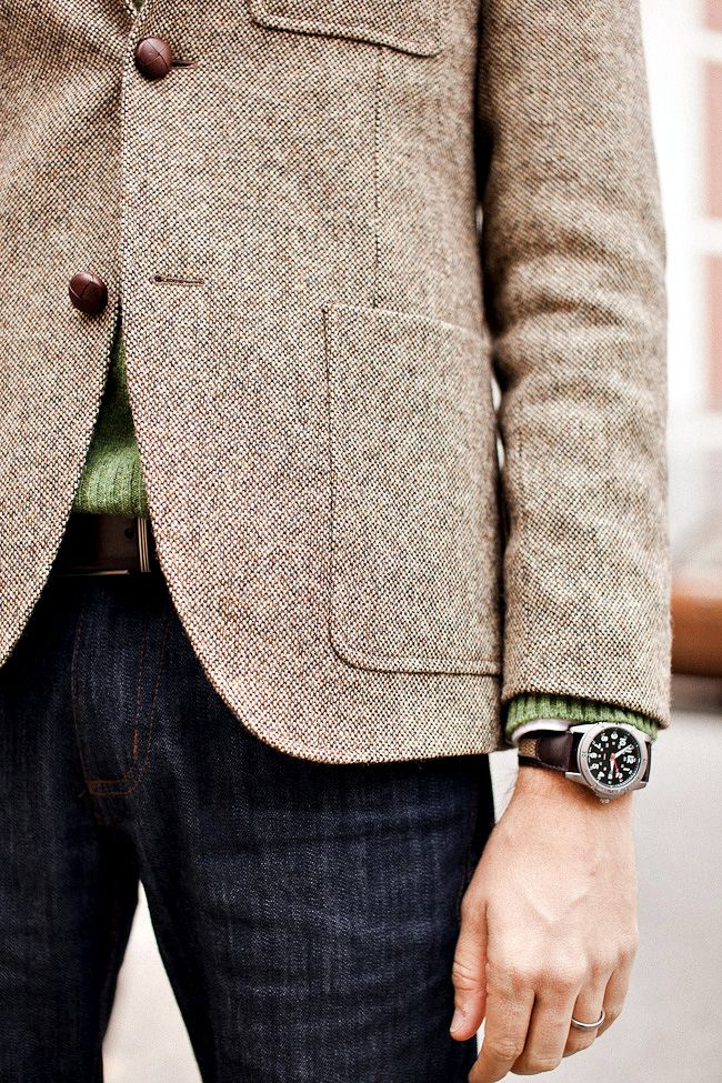 Jacket + watch.: Sweater, Dark Wash, Tweed Jackets, Style, Blazer, Fashionkiosk Menswear, Jeans