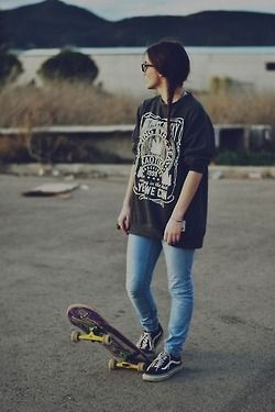 ... Tumblr | Skater Style | Pinterest | Skater Girls, Black Tops and Girls