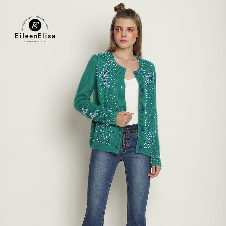 Womens Brand Sweaters 2017 Luxury Cardigan Woman Dark Green Sweater with Pearls