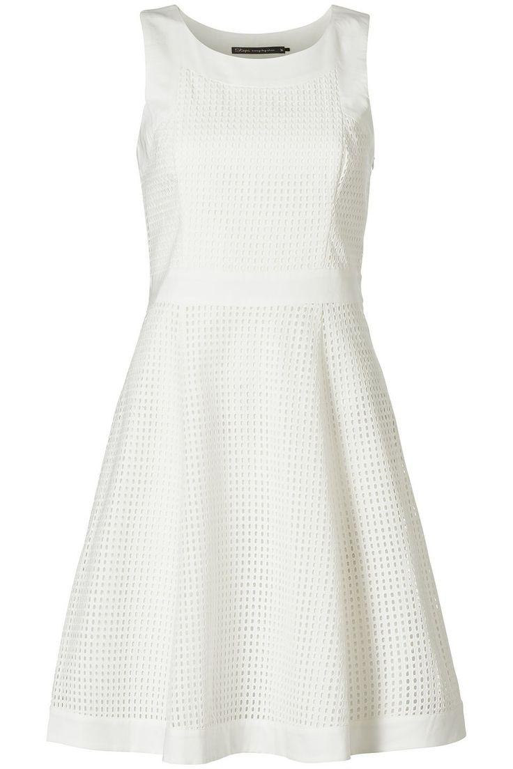 A-lijn jurk met opengewerkt patroon Wit
