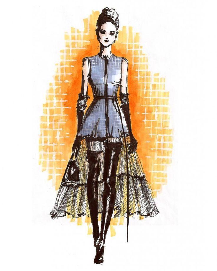 Grafton Academy night student Magdalena Galica fashion illustrations.