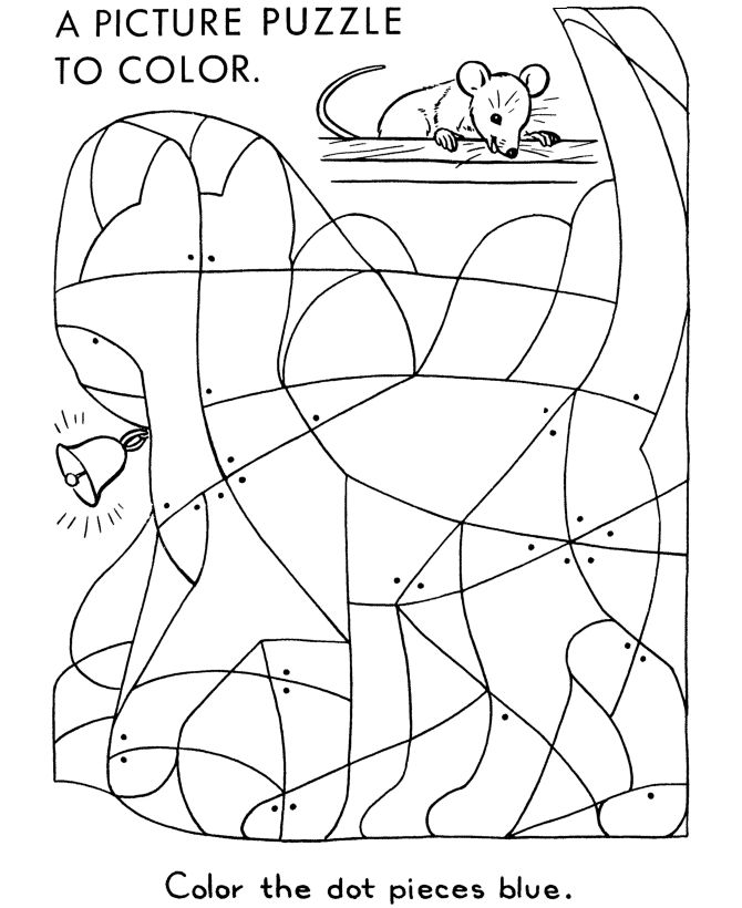 hidden picture coloring page cat with bell