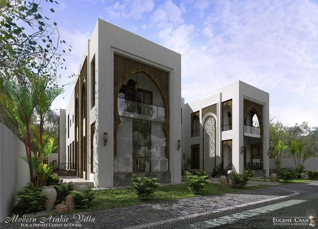 34 best arabic modern style images on pinterest mansions for Classic villa exterior design