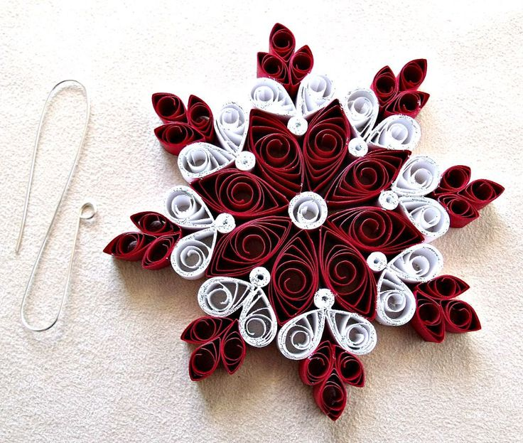 handmade paper quilled Christmas snowflake ornament by sayitwithblooms on Etsy https://www.etsy.com/listing/242566029/handmade-paper-quilled-christmas