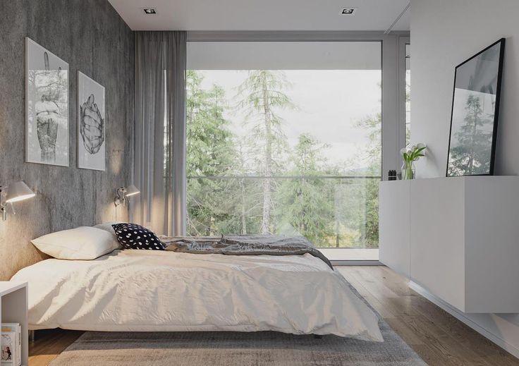 Ilmavuutta makuuhuoneen sisustukseen seinään kiinnitetyllä lipastolla. Matala sänky ja suuri ikkuna viimeistelevät tilan ihanan tunnelman.