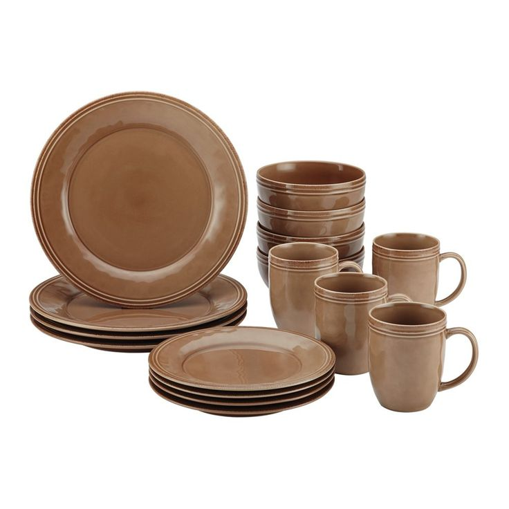 Rachael Ray Cucina 16-Piece Stoneware Dinnerware Set - Mushroom Brown