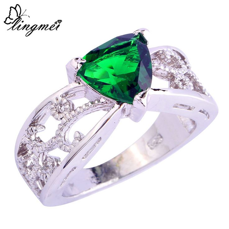 Free Shipping Wholesale Fashion Party Jewelry Triangle Cut AAA Cubic Zirconia Silver Ring For Women Rings Size 6 7 8 9 10 11 12