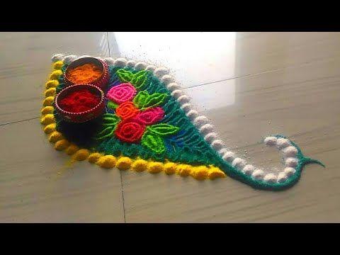 2 minutes Makar sankranti special rangoli designs/kumkum rangoli designs by Jyoti Rathod - YouTube