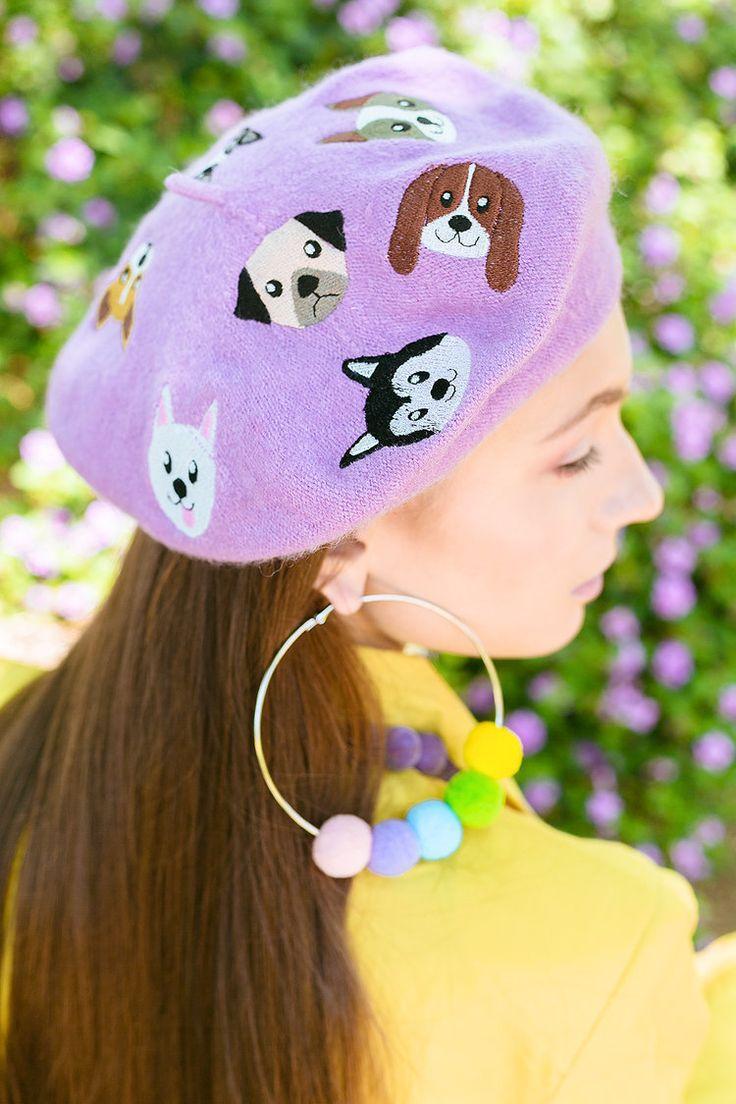 Dog Friends Beret and Rainbow Row Earrings by Elleni the Label  @irrisrray Photography @yuliia_kurochka Model @shermymakeup MUA