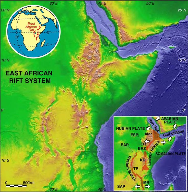 Fig. 1. Digital elevation model (from Shuttle Radar Topography Mission – SRTM – data) showing the topographic expression of the East African Rift System. Inset shows a schematic plate kinematic setting of the area. BRZ: Broadly Rifted Zone; EAP: East African Plateau; ER: Ethiopian Rift; ESP: Ethiopian–Somalian plateaus; KR: Kenya Rift; MR: Malawi Rift; SAP: Southern African Plateau; TR: Tanganyika Rift.