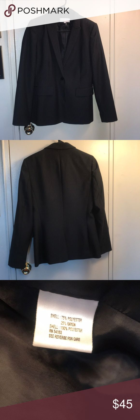 Calvin Klein dark grey pin stripe suit jacket Women's Calvin Klein dark grey pin stripe suit jacket. Worn once for an interview, Dry cleaned and never wore it again (I got the job and office is business casual lol) size 8. I also have matching pants (size 10, never worn) and matching skirt, size 8 (worn once and dry cleaned) check my other listings and bundle to save more! Calvin Klein Jackets & Coats Blazers
