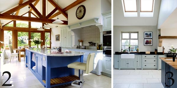 Kitchen extension to a listed thatched cottage; Running cabinets seamlessly into a new extension helps blur the transition between old and new