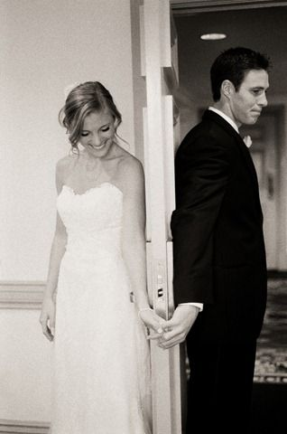Cute idea! Pre wedding pictures:) They waited until she walked down the