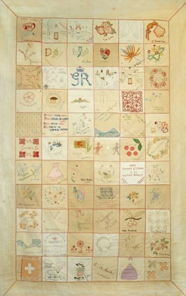 There are quilts from the Second World War Changi prisoner camp that record the names of internees. The quilts were stitched in secret and smuggled out of the camp. For the prisoners there was a desperate need to let someone know where they were. To mark their existence. There are many other similar instances of stitched prison records.