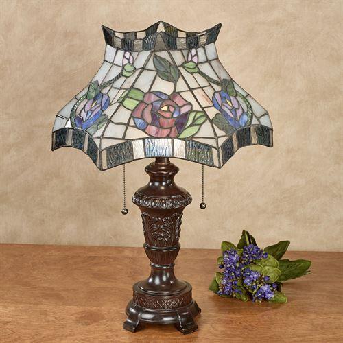 Cicily Rose Stained Glass Table Lamp Multi Pastel Each with LED Bulbs