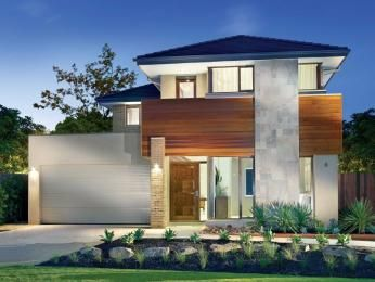 Concrete modern house exterior with balcony & feature lighting - House Facade photo 1524676