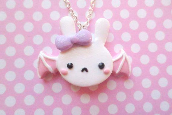 Pastel Fairy Kei Bat Bunny Necklace by NerdyLittleSecrets on Etsy, $12.00