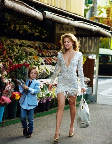 Kate and son Ryder. Dress, by special order, Emilio Pucci