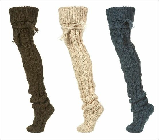 Cable knit socks. Perfect for layering with boots: Knit Socks, Fashion, Tall Fall Boot, Thigh High Socks Outfit, Style, Cold Winter, Cable Knit, Boot Socks