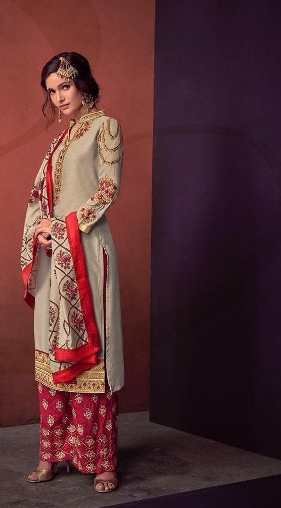 1834eb1cde Designer Straight Cut Palazzo Suit -Indian Palazzo Salwar Kameez  -Traditional Embroidered Wedding We