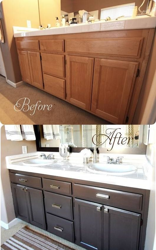 before and after bathroom cabinet - Painted Bathroom Cabinets Before And After