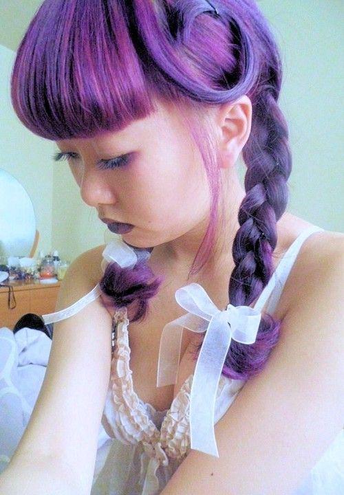 lavender hair: 1Morado Purple, Purple Hair, Fun Hair, Hair Dos, Cosplay Braids, Dreams Hair, Fancy Hair, Funky Hair, Entr Violeta