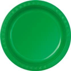 Green Plastic Lunch Plates (Pack of 8)