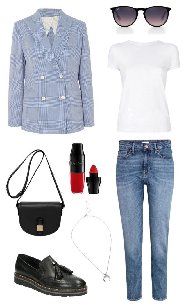 """""""Untitled #244"""" by stinasolheim on Polyvore featuring MaxMara, SoftWalk, H&M, Ray-Ban, Helmut Lang, Lancôme and Mulberry"""