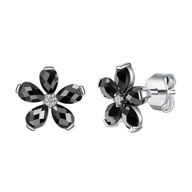 Cercei Nahla Jewels argint floare cu zirconii negre