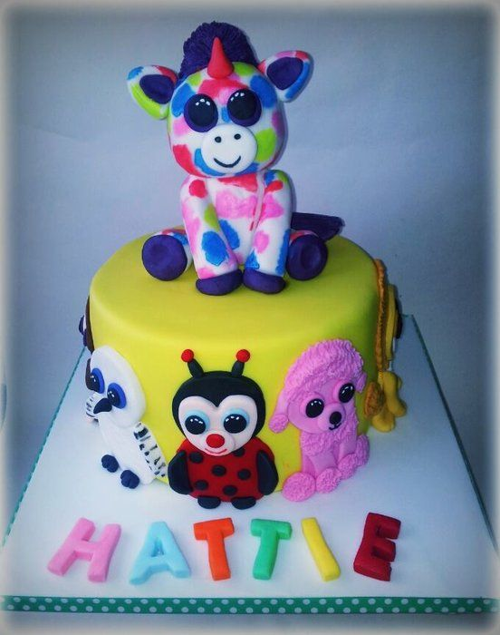 Beanie boo's cake - by timefortiffin @ CakesDecor.com - cake decorating website