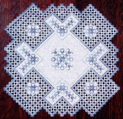 Williamsburg Winter Hardanger Doily by Cindy Valentine Designs - I love cutwork!