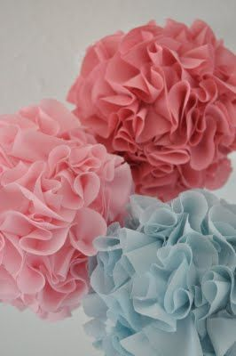 DIY Fabric Poms - less messy and last longer than tissue poms - use styrofoam balls, fabric circles, hot glue